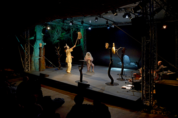 Simon Starling in collaboration with Graham Eatough, 'At Twilight: A play for two actors, three musicians, one dancer, eight masks (and a donkey costume)', Performance at Holmwood House, Glasgow, 2016