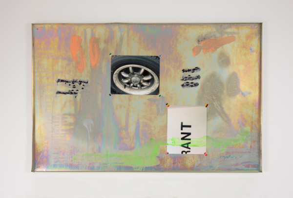 Hayley Tompkins, Lookalike XXX, 2016, Galvanised metal tray, stock photograph, acrylic paint, stickers, 77.5 x 119.2 x 2 cm, 30.5 x 46.9 x .8 in
