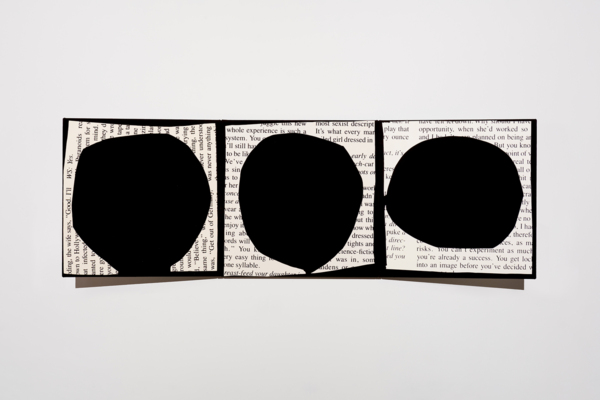 Kim Fisher, Was Never Anything / Three Holes, 2016, Acrylic on dyed linen, 96.5 x 289.6 cm, 38 x 114 in
