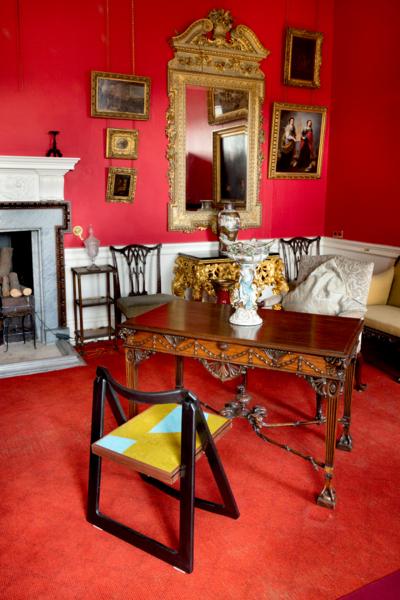 Martino Gamper, Foldino, 2017, Beech frame, walnut, linoleum, 73.5 x 53 x 48 cm, 28.9 x 20.9 x 18.9 in. Installation view 'Middle Chair', Pollok House, Pollok Country Park, Glasgow, 2017