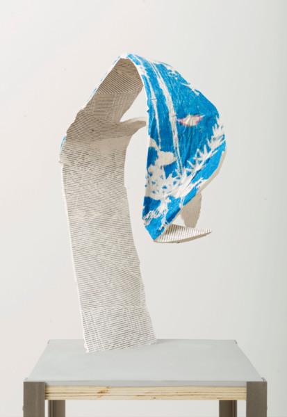 Alex Dordoy, Svalbard Soil 3, 2017 (Detail), Jesmonite, fibreglass, plywood, toner, acrylic, watercolour, gouache, stainless steel plinth, 143 x 29 x 32 cm, 56.3 x 11.4 x 12.6 in