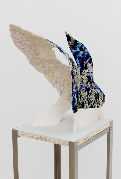Alex Dordoy, Svalbard Soil 5, 2017, Jesmonite, fibreglass, plywood, toner, acrylic, pigment, stainless steel plinth, 141 x 40 x 32 cm, 55.5 x 15.7 x 12.6 in