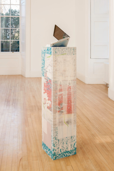 Alex Dordoy, Congsumer (MacBook Pro), 2014, Jesmonite, fibreglass, toner transfer, oil, MacBook Pro, 155 x 36 x 31 cm, Installation view, 'persistencebeatsresistance', Inverleith House, Edinburgh, 2014