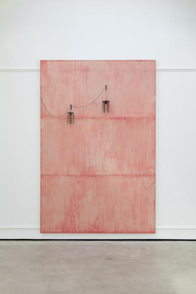 Martin Boyce, Untitled, 2017, Painted perforated steel, aluminium, painted steel, steel chain, blackened nickel plated steel, blackened cast bronze, 200 x 300.7 x 2.8cm / 78.7 x 118.4 x 1.1