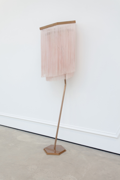 Martin Boyce, Untitled 2017, Painted and waxed brass, fabric fringing, blackened cast bronze, cast bronze, Lamp: 161.5 x 49.5 x 49.5 cm / 63.6 x 19.5 x 19.5 in; Switch: 9.5 x 9.5 x 1.5 cm / 3.7 x 3.7 x .6 in