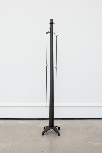 Martin Boyce, Untitled, 2017, Nickel plated and blackened steel, blackened cast bronze, cast bronze, Lamp: 30 x 30 x 143.5 cm / 11.8 x 11.8 x 56.5 in; Socket: 8.3 x 8.3 x 1 cm / 3.3 x 3.3 x .4 in