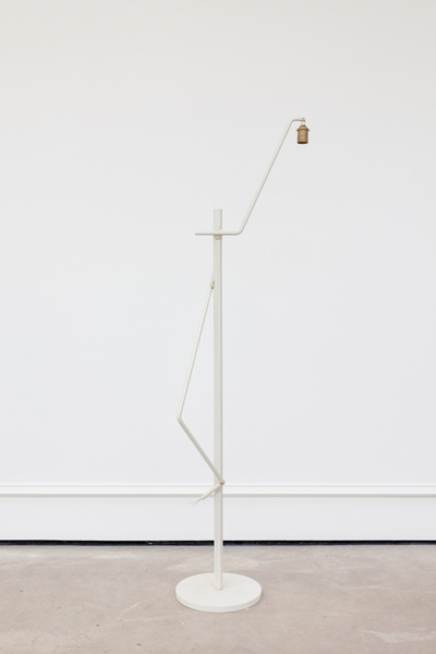 Martin Boyce, Untitled, 2017, Painted and stained steel, copper plated steel wire, cast bronze, Lamp: 37 x 42.5 x 159.5 cm / 14.6 x 16.7 x 62.8 in; Socket: 9.5 x 16.4 x 1 cm / 3.7 x 6.5 x .4 in