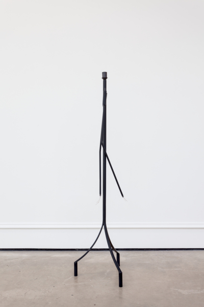 Martin Boyce, Untitled, 2017, Painted steel, copper plated steel wire, blackened cast bronze, cast bronze, Lamp: 39 x 39 x 148.8 cm / 15.4 x 15.4 x 58.6 in; Socket: 9.7 x 9.7 x 1 cm / 3.8 x 3.8 x 0.4 in
