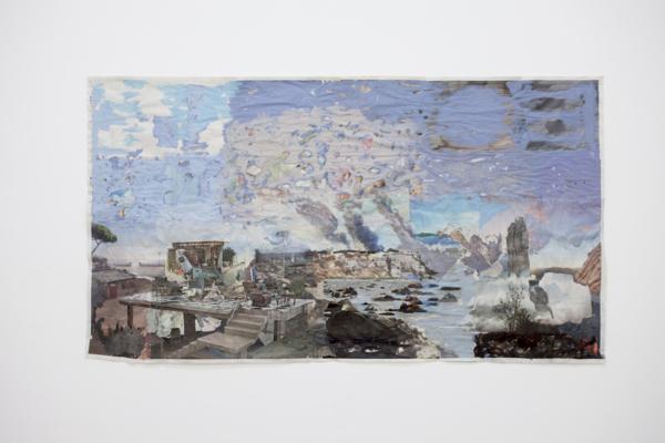 Tony Swain, The furthest companion, 2017, Acrylic on pieced newspaper, 108.5 x 200.5 cm, 42.7 x 78.9 in