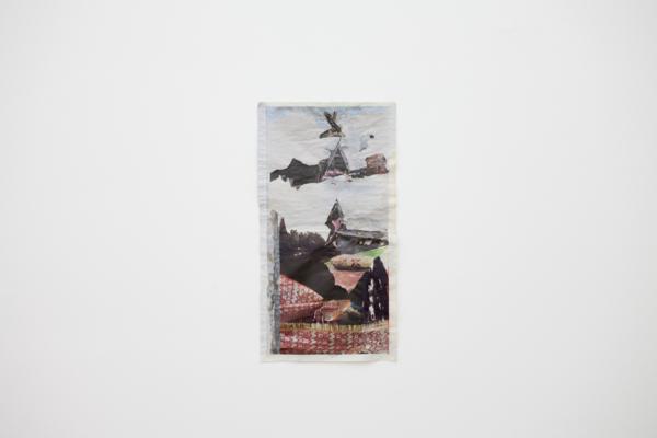 Tony Swain, Fortune from Afar, 2017, Acrylic on pieced newspaper, 62 x 33 cm, 24.4 x 13 in