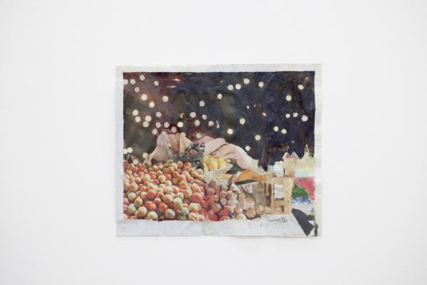 Tony Swain, Actual Size, 2017, Acrylic on pieced newspaper, 34 x 41.2 cm, 13.4 x 16.2 in