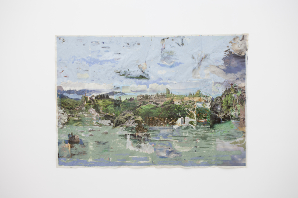Tony Swain, Disposal of favours, 2017, Acrylic on pieced newspaper, 121.5 x 176 cm, 47.8 x 69.3 in