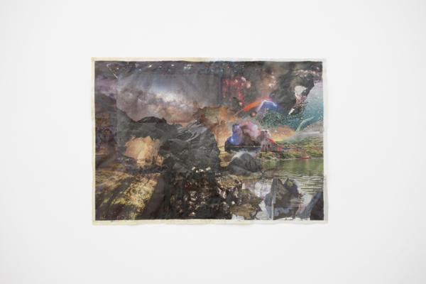 Tony Swain, No mere ceremony, 2017, Acrylic on pieced newspaper, 67.5 x 96 cm, 26.6 x 37.8 in