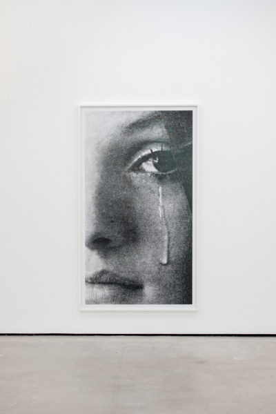 Anne Collier, Crying, 2017, installation view, C-print, 219.5 x 126.2 cm, 86.4 x 49.7 in unframed, 221.93 x 128.75 x 4.45 cm, 87.4 x 50.7 x 1.8 in framed, Edition of 5