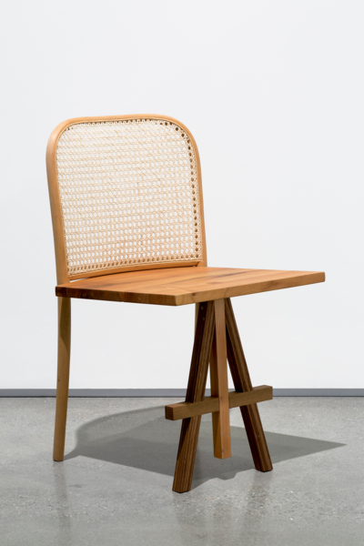 A seat to sit chair no.2 2008/2016, Bentwood chair, larch wood, walnut, oak, 80 x 66 x 56 cm, 31.5 x 26 x 22 in
