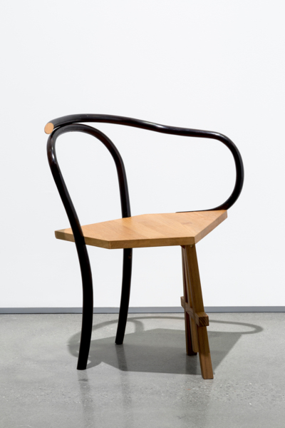 A seat to sit chair no.1 2008/2016, Bentwood chair, larch wood, walnut, oak, 75 x 65 x 58 cm, 29.5 x 25.6 x 22.8 in
