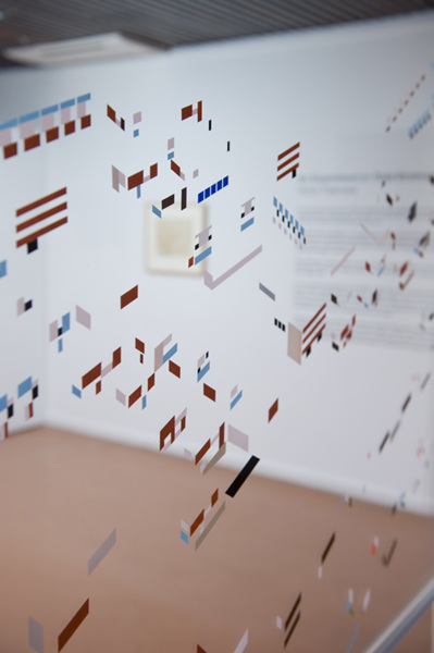 Toby Paterson,Notes (detail), 2012, Acrylic on Perspex, aluminium frame, 100 x 120 cm, Installation view, 'An Experiment for Total Environment', Durham Art Gallery, Durham (Solo, 29/11/2012—03/2013, with works by Victor Pasmore)
