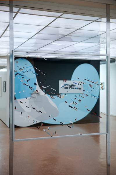 Toby Paterson, Notes, 2012, Acrylic on Perspex, aluminium frame, 100 x 120 cm, Installation view, 'An Experiment for Total Environment', Durham Art Gallery, Durham (Solo, 29/11/2012—03/2013, with works by Victor Pasmore)