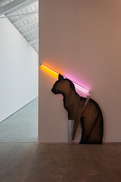 Mark Handforth, Matchstick Cat, 2018, Assorted hardwood, fluorescent light, gels, 146.1 x 119.4 x 10.2 cm, 57.5 x 47 x 4 in
