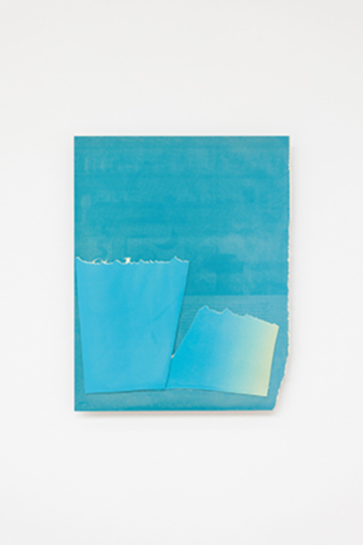 Kim Fisher, Blue Magazine, 2018, Oil and aluminium collaged hand printed screen prints, 59.5 x 45.9 x 3.2 cm