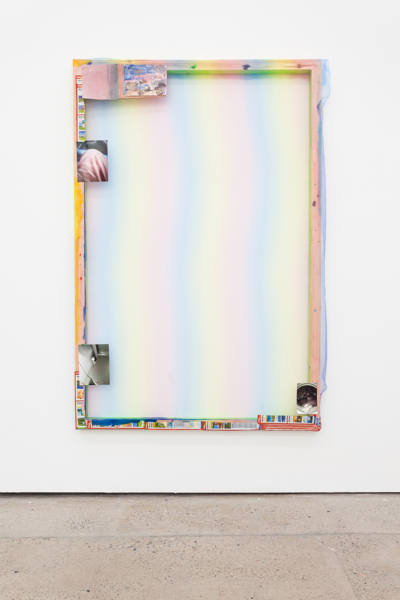Hayley Tompkins, Reise, 2018, Wood, polyester, paper, digital photo, acrylic paint, 183 x 122 x 5 cm