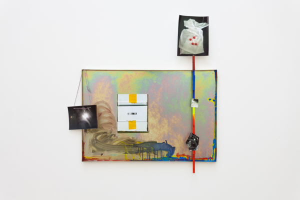 Hayley Tompkins, Lookalike XLI, 2018, Galvanized metal tray, acrylic paint, digital photos, balsa wood, cotton twine, 101.5 x 97 x 5 cm