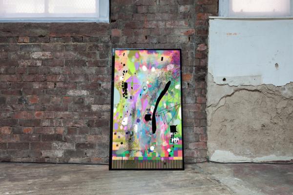 Gregor Wright, Acid Police, 2018, Screen based painting, 15 minute loop, 4K screen, 124.5 x 72 x 12.2 cm