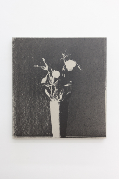Flowers (Wabi Sabi), 2018, Screen print on grey board mounted on canvas, ply/wooden frame, 64.2 x 60 x 3.5 cm