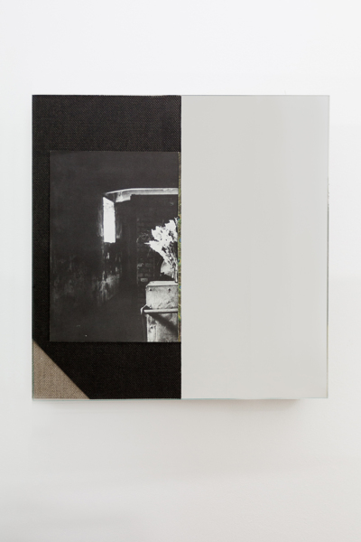 Flowers at Auschwitz Crematorium, 2018, Book page mounted on canvas, mirror, etched glass, 40 x 39.8 x 3.5 cm