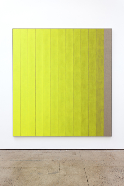 13 Stripes Yellow, 2018, Acrylic on linen, aluminium frame, 211.5 x 191.4 x 3.8 cm