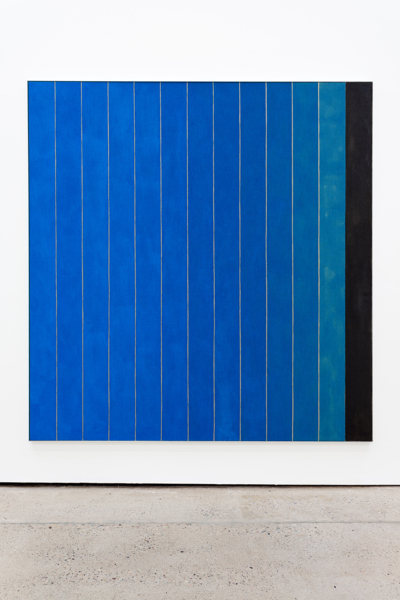13 Stripes Blue, 2018, Acrylic on linen, aluminium frame, 211.3 x 201 x 3.8 cm