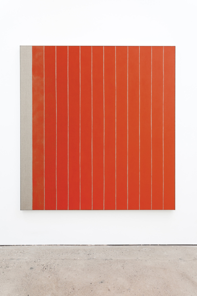 13 Stripes Red, 2018, Acrylic on linen, aluminium frame, 181.2 x 171.4 x 3.8 cm