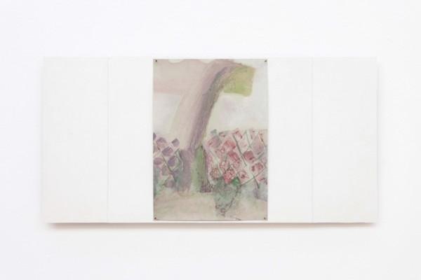 Rainbow, 2019, Acrylic, paper, wood, glue, pins, 30.5 x 61.1 x 2 cm