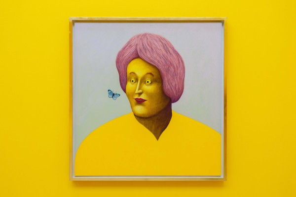 Portrait with One Butterfly, 2019, Pastel on canvas, 116.2 x 111.2 x 6.9 cm