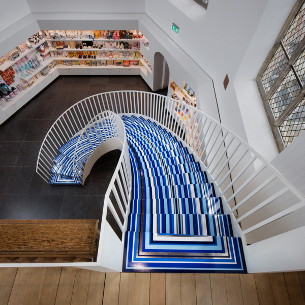 Zobop (Cerulean) Stairs, 2019, Coloured and chrome vinyl tape, Dimensions variable, Installation view, Centraal Museum, Utrecht, 2019