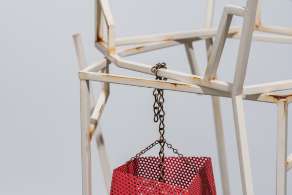 The After and the Always, 2012 (detail), Painted steel, rust, clear lacquer, and lantern shade, 159 x 70 x 70 cm