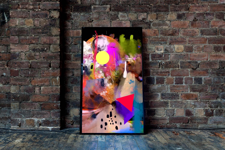 Machine Dream, 2019, Screen based painting,15 minute loop, 4K screen, 124.5 x 72 x 12.2 cm