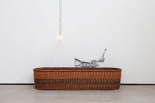 Manual Transmission, 2019, Willow basket, silkscreen print, handmade lightbulb, Dimensions variable
