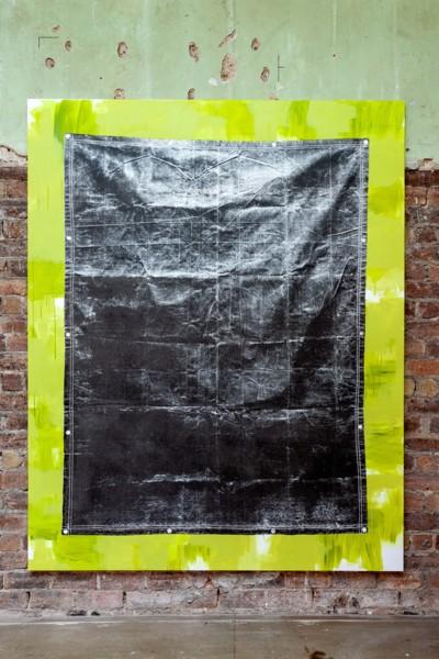 Olive Drab Heavyweight Canvas Tarp (Green), 2019, Acrylic and silkscreen ink on canvas, 238 x 190 cm