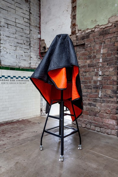 Broken Tributes to a Morally Bankrupt Cause (Iron), 2019, Sculpture easel, iron bottle drying rack, moving blanket, 190 x 70 x 70 cm