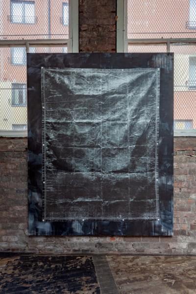 Olive Drab Heavyweight Canvas Tarp (Black), 2019, Acrylic and silkscreen ink on canvas, 238 x 190 x 3.7 cm