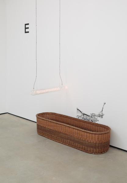 Manual Transmission, 2019, Willow basket, silkscreen print, handmade lightbulb, Dimensions variable