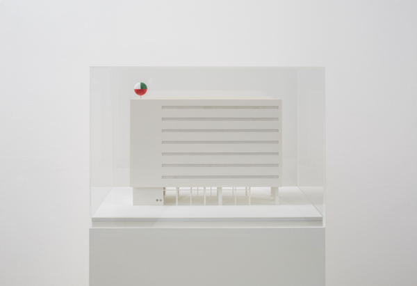 Building, 1:100 scale model, Reconstruction of the Italcore headquarters building reproduced according to the 35 mm colour transparencies No. 20 and 21, MDF, perspex, plasticard, metal, paint, 60 x 40 x 35.8 cm