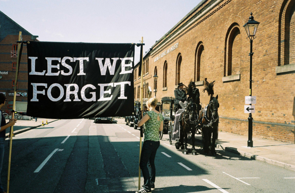 Lest We Forget, 2009, Banner made by Ed Hall, 133 x 181 cm, 52.4 x 71.3 in