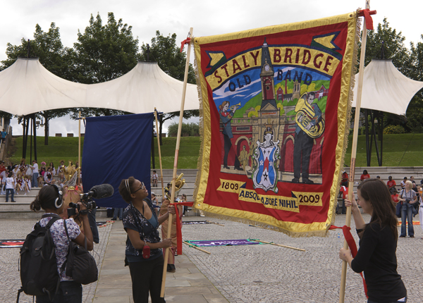 16th Aug 1819 Stalybridge Old Band, 2009, Banner made by Ed Hall, 182 x 182 cm, 71.7 x 71.7 in