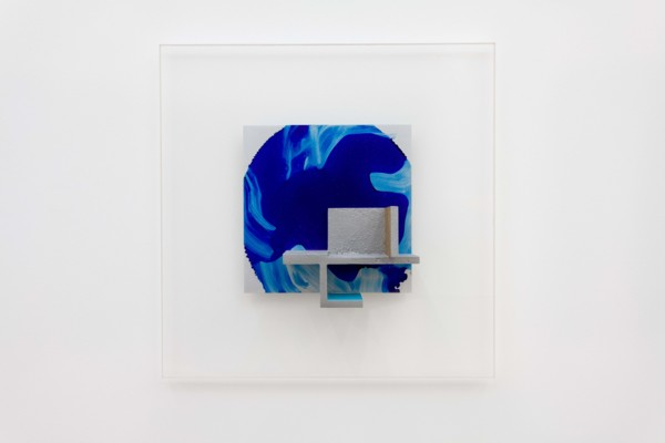 Analogique, 2020, Acrylic and engineer's layout fluid on cast and sheet aluminium and perspex, 50 x 50 x 10 cm