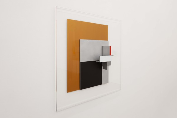 Izmaylovo, 2020, Acrylic on cast and sheet aluminium and perspex, 100 x 100 x 11.5 cm