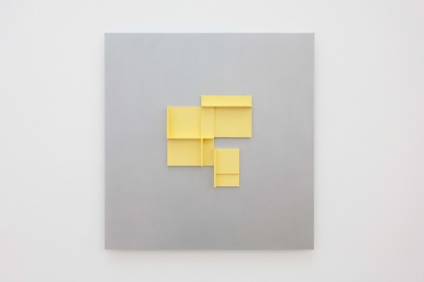Naples Yellow Maquette, 2019, Acrylic on board on aluminium, 50 x 52 x 3.5 cm