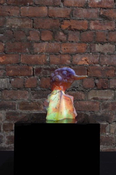 Snoozy Beak, 2020, Resin, pigment, LED, perspex, Sculpture: 21.5 x 20 x 17 cm, Plinth: 30 x 30 x 30 cm