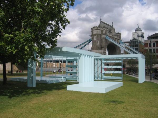 Powder Blue Orthogonal Pavilion, 2008, Kerto plywood, exterior paint and steel, 1200 x 1200 x 300 cm, Potters Fields Park, Southwark, London (as part of Portavilion), 2008